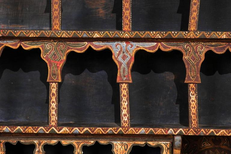 Mid-20th Century Moroccan Spice Rack, Handmade and Hand-Painted For Sale 2