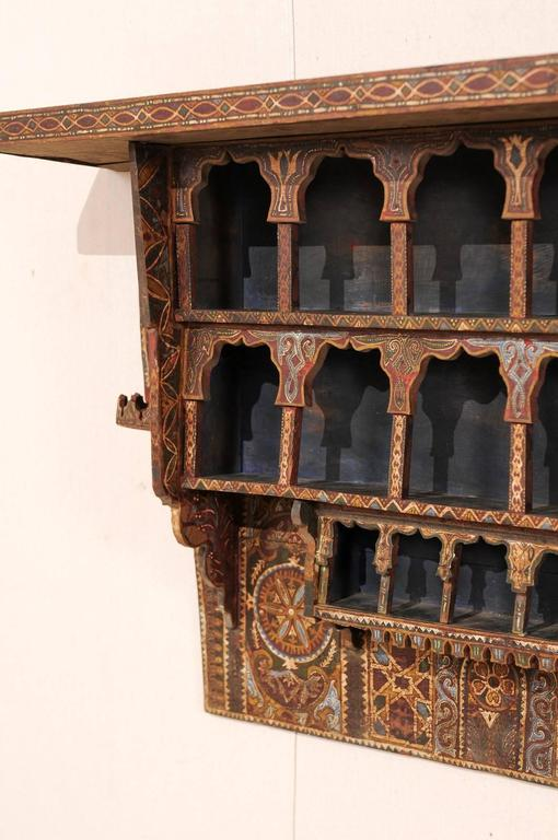 Mid-20th Century Moroccan Spice Rack, Handmade and Hand-Painted For Sale 3