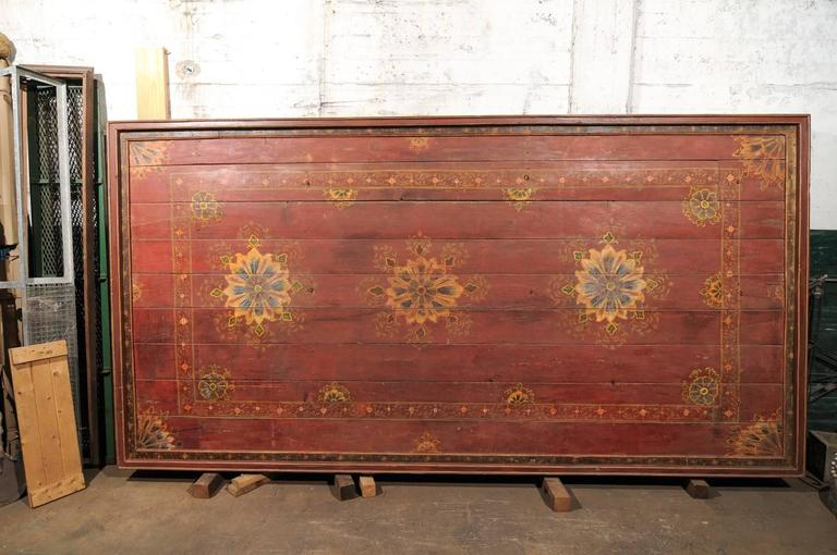 Indian A Grand-Sized 19th C. Beautifully Painted Ceiling Panel from South India For Sale