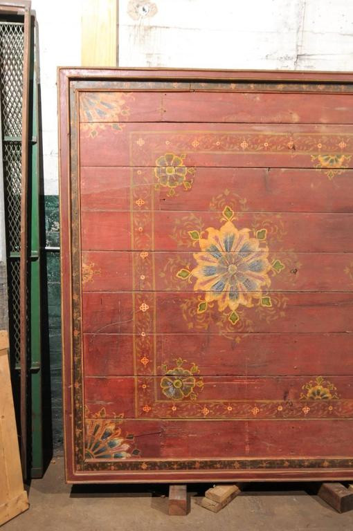 Hand-Painted A Grand-Sized 19th C. Beautifully Painted Ceiling Panel from South India For Sale