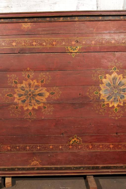 19th Century A Grand-Sized 19th C. Beautifully Painted Ceiling Panel from South India For Sale