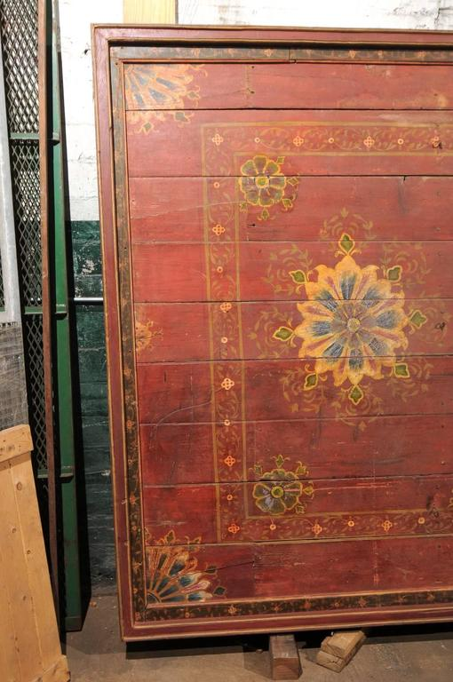 Wood A Grand-Sized 19th C. Beautifully Painted Ceiling Panel from South India For Sale
