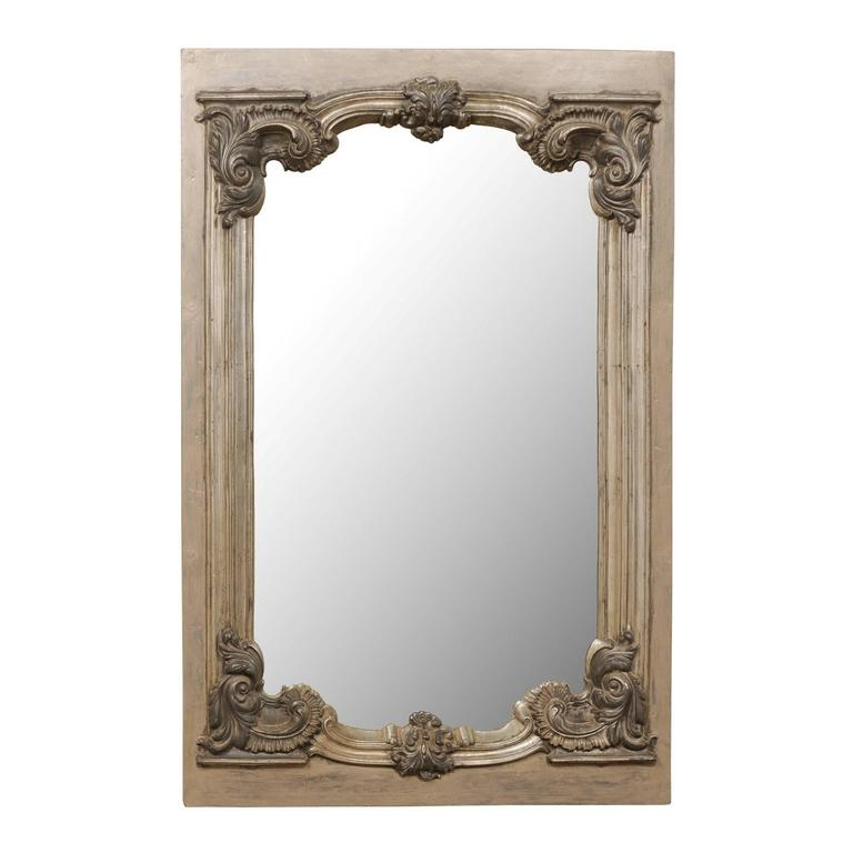 Large 19th Century Swedish Mirror with Ornate Metal Design and Wood Surround 1