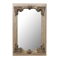 Large 19th Century Swedish Mirror with Ornate Metal Design and Wood Surround