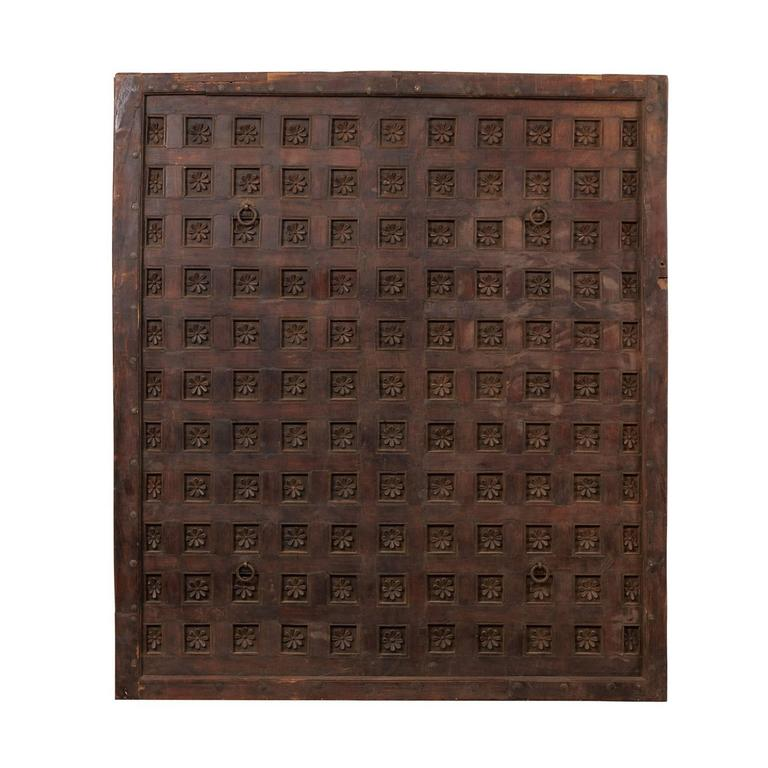Large 19th Century Carved Wood Ceiling Panel from Tamil Nadu, South India