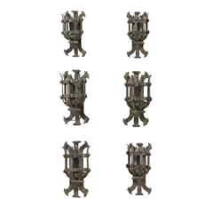 Set of Six French Forged Iron Sconces from the Early 20th Century with Patina