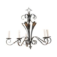 French Five-Light Iron Chandelier with Twisted / Scrolled Arms and Fleur De Lis