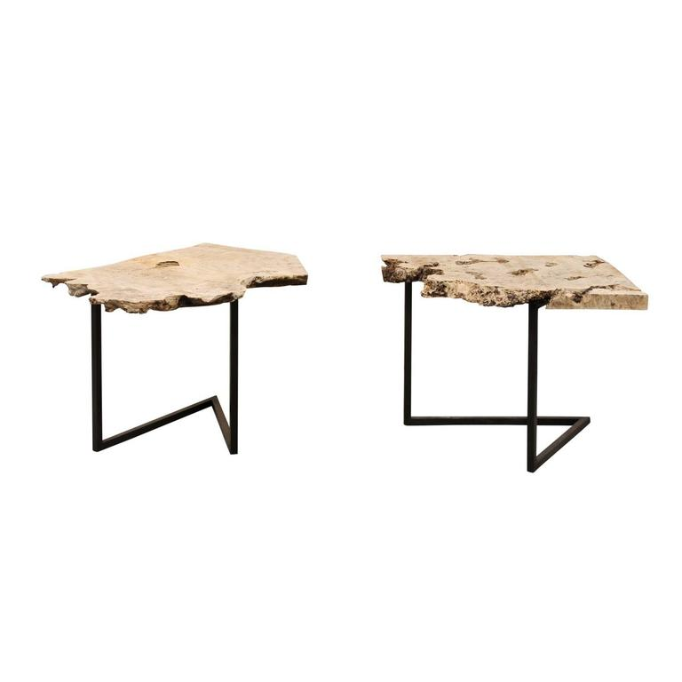 Attractive A Single European Contemporary Style Custom Burl Top Iron Side Drink Table  For Sale