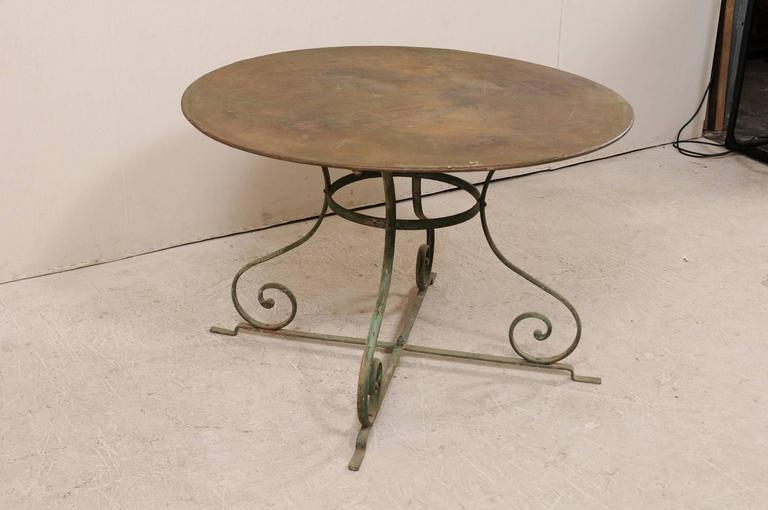 French Mid 20th Century Round Patio Dining Table With
