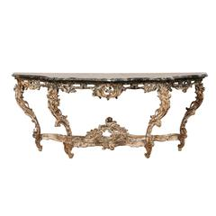French 18th Century Rococo Period Richly Carved Wood and Marble Console Table