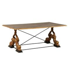 Italian Mid-Century Coffee Table with Carved Mythological Creature Fish Legs