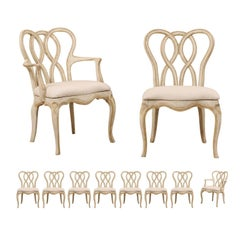 Set of Ten Venetian Style Painted Wood Chairs with Intertwined Pretzel Backs