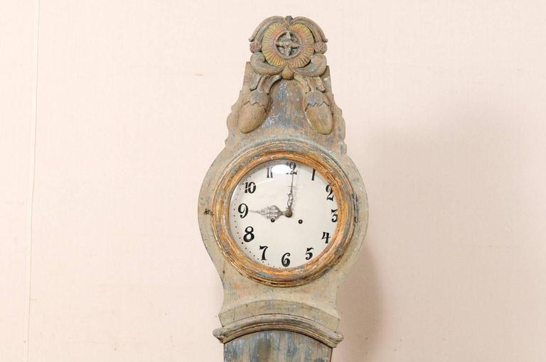 Th century swedish painted wood longcase or floor clock