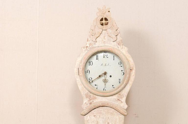 Lovely th century painted wood floor clock from