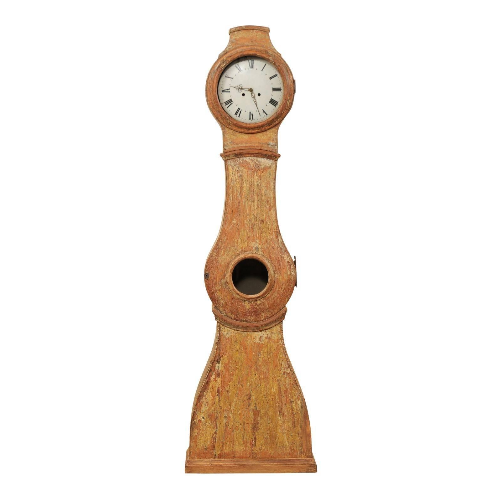 19th Century Swedish Painted Wood Longcase / Floor Clock with Scraped Finish
