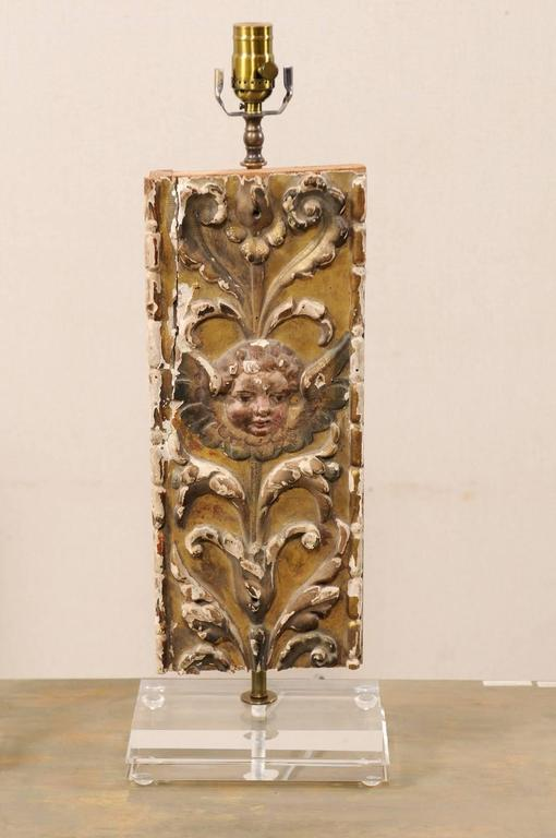 18th Century and Earlier Pair of Italian 18th Century Gilded and Carved Wood Fragment Table Lamps For Sale
