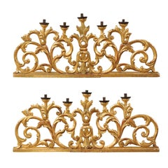 Exquisite Italian Pair of Large Carved Gilt-wood Five Candle Candelabra, 19th C.