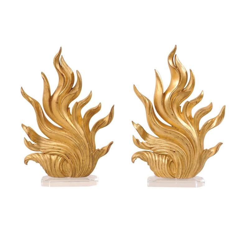 Pair of European Carved and Painted Gold Flame Fragments on Custom Lucite Stands