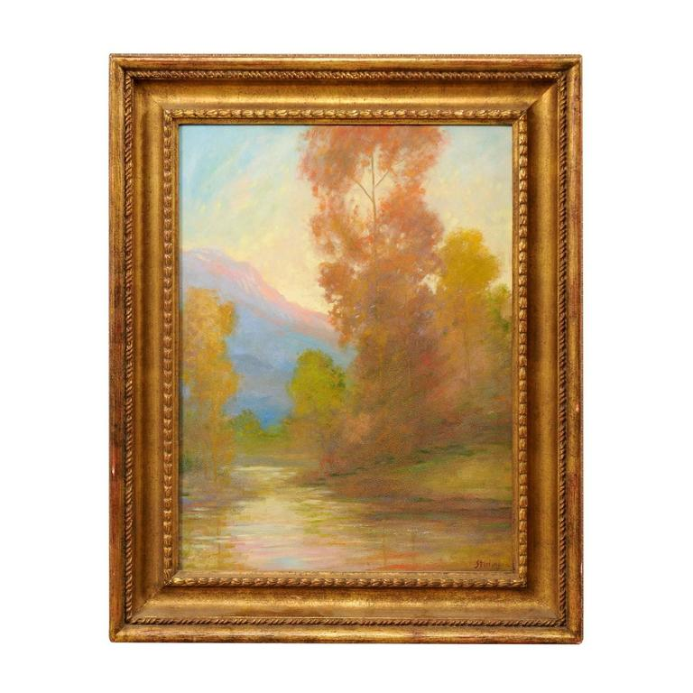 David Sterling, American Artist Oil Painting in Frame of Romantic Mountain Scene