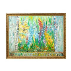 Large Swedish Mid-Century Cheerful Oil Painting of Lilly and Gladiolus Flowers