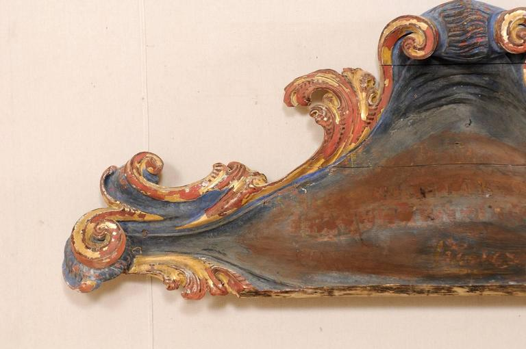 Exquisite Italian 18th Century Carved and Painted Wood Wall Decoration In Good Condition For Sale In Atlanta, GA