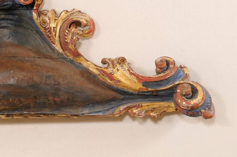 Exquisite Italian 18th Century Carved and Painted Wood Wall Decoration For Sale 1