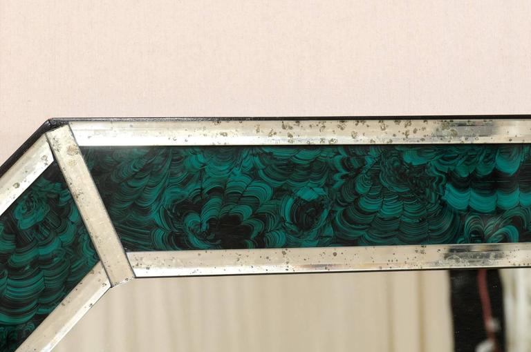 Large size deep green and teal colored malachite wall for Teal framed mirror