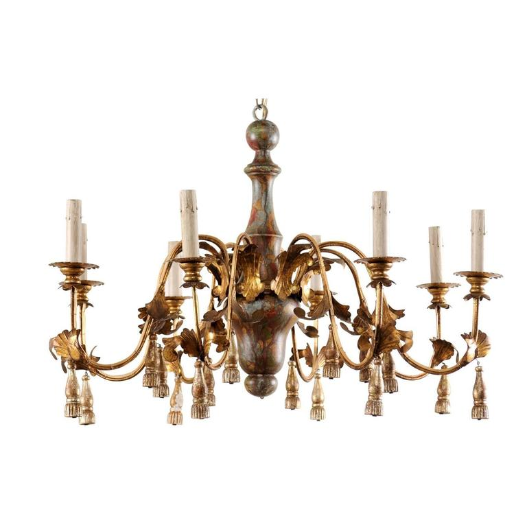 Italian Mid-Century Eight-Light Chandelier with Painted Stained Glass Effect For Sale