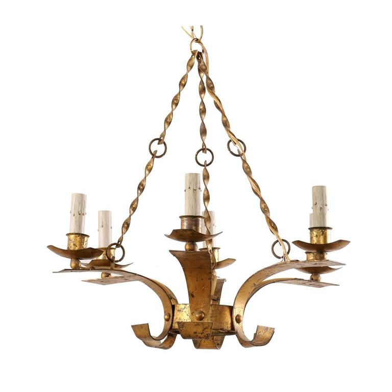 French Gold Colored Iron Mid-Century Six-Light Chandelier with Twisted Chains For Sale