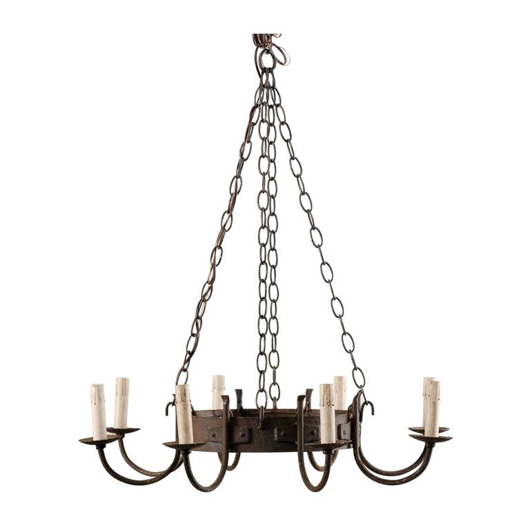Ornate Iron Ring Chandelier: French Mid-20th Century Eight-Light Chandelier With Nicely