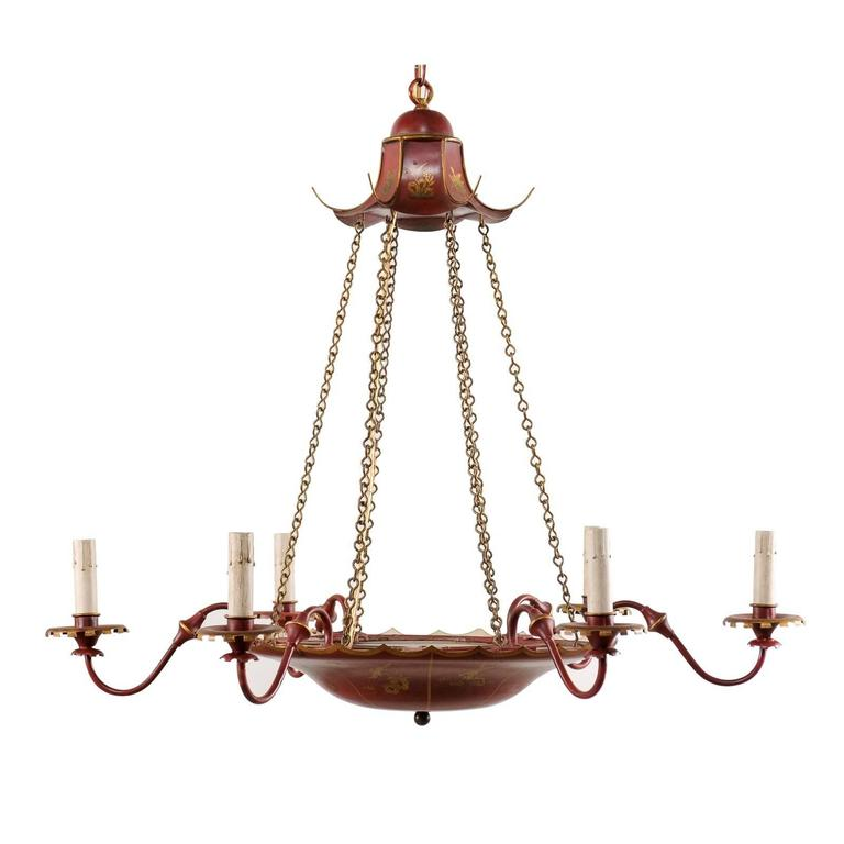 Vintage English Red Tole Six-Light Chandelier with Chinoiserie Gold Color Decor