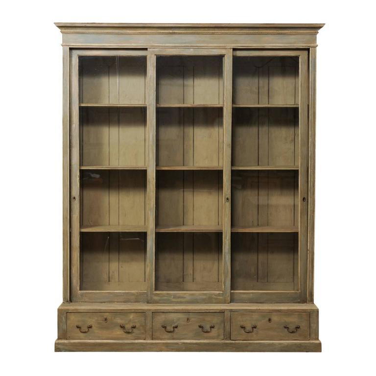 French 19th century large painted wood bookcase with for Large french doors