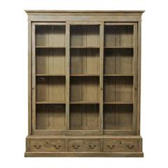 French 19th Century Large Painted Wood Bookcase with Sliding Doors