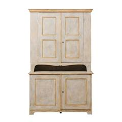 Swedish Mid-19th Century Painted Wood Cabinet with Ample Shelves and Storage