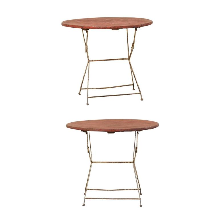 Pair of French Vintage Bistrot / Café Folding Patio / Porch Tables with Red Tops