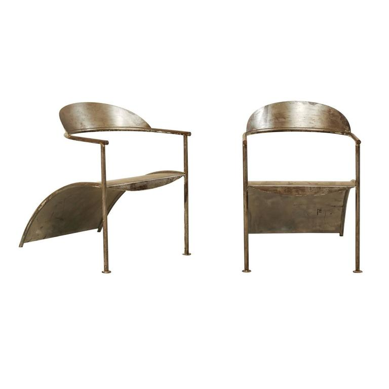 Pair of unique french modern style metal arm chairs by for Philippe starck style