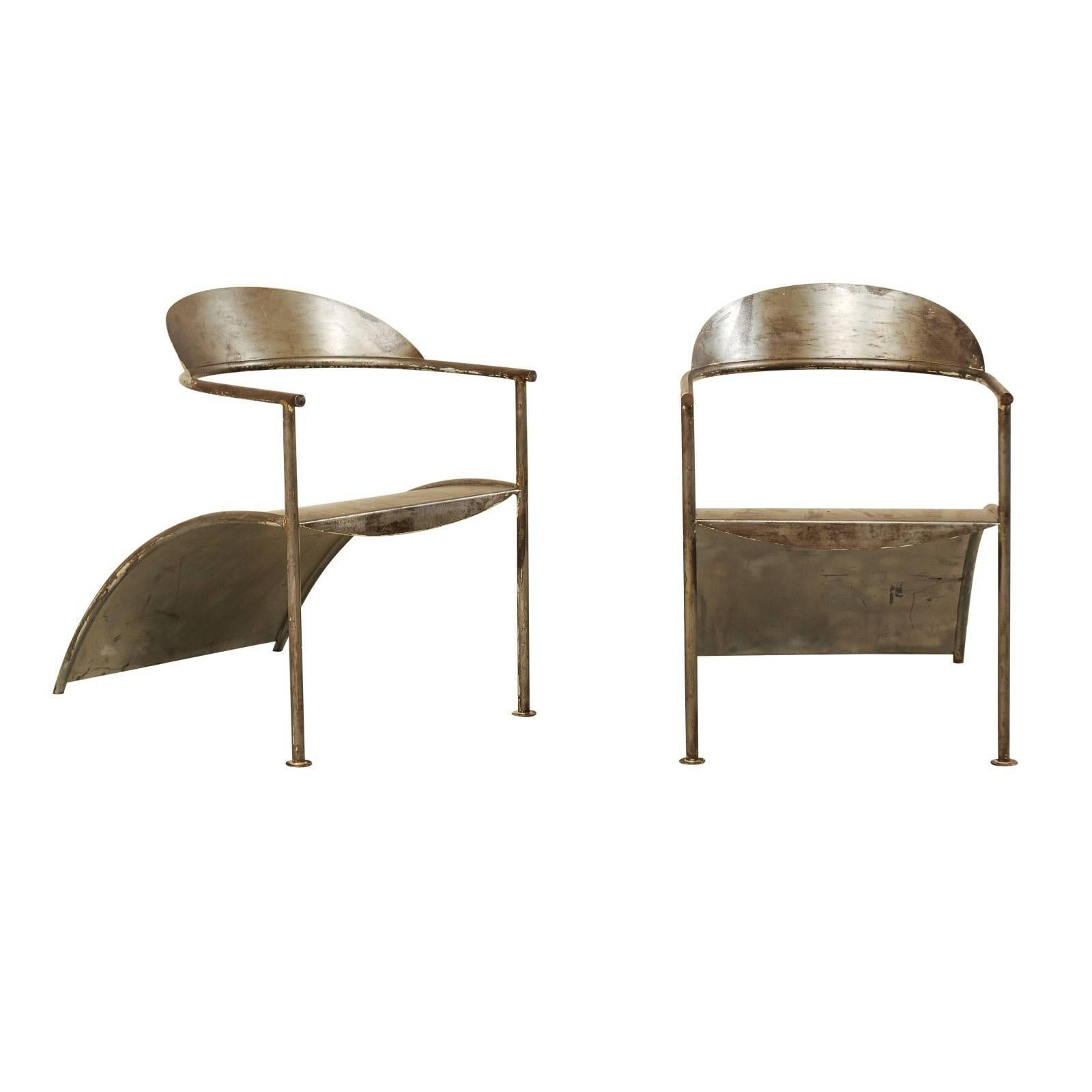 Pair of French Sleek & Modern Metal Arm Chairs by Designer Philippe Starck