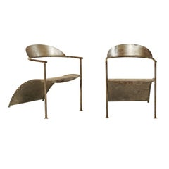 Pair of Unique French Modern Style Metal Arm Chairs by Designer Philippe Starck