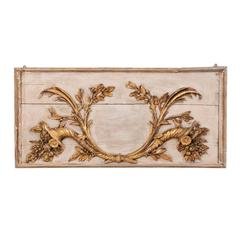 18th Century Italian Wood Carved Wall Plaque with Gold and Bronze Colored Decor