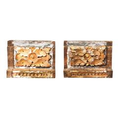 Pair of 18th Century Italian Carved Wood Fragments with Gold Floral Decorations