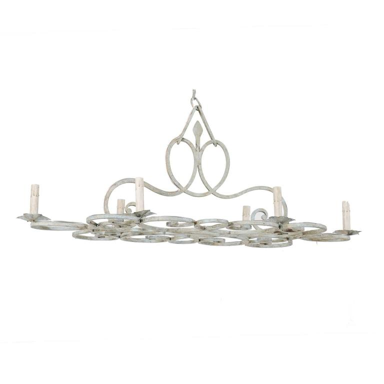 French, Mid-20th Century Six-Light Painted Iron Chandelier in Pale Blue Grey