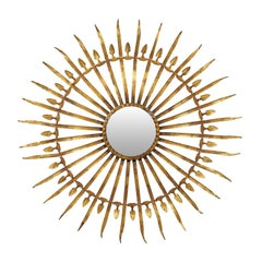 French Sunburst and Foliage Motif Gilded Metal Wall Ornament with Round Mirror