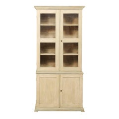 19th Century Swedish Painted Wood Bookcase with Glass Doors and Extra Storage