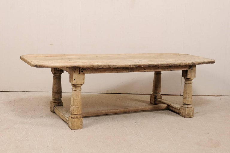 Italian Early Th Century Bleached Oak Rustic Dining Table With - Aged wood dining table