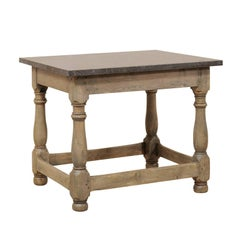 Swedish 18th Century Wood Occasional or Side Table with Honed Dark Marble Top