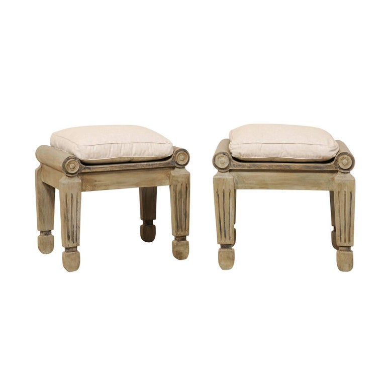 Pair of Carved and Painted Brazilian Wood Stools with Fluted and Tapered Legs