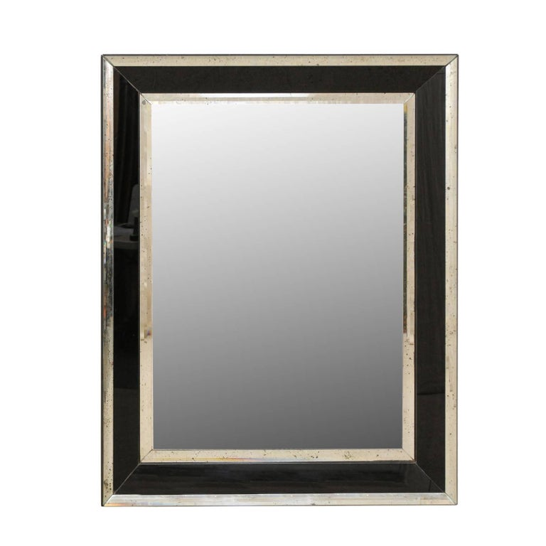 Vintage large rectangular wall mirror with black and for Glass mirrors for walls