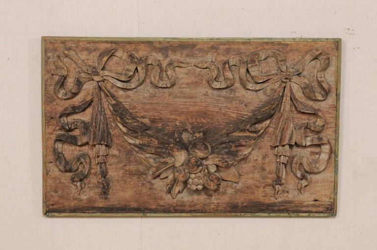 Italian 19th Century Hand-Carved Wood Wall Plaque with Fruit, Swag & Bow Motifs 2