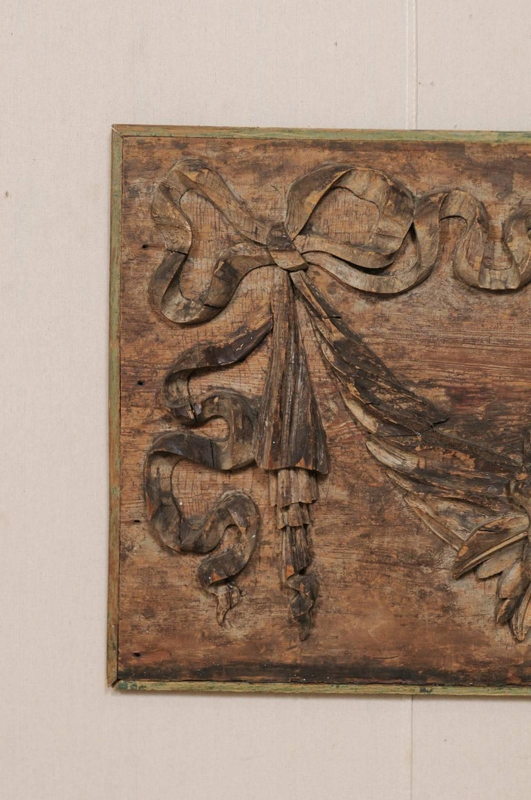 Italian 19th Century Hand-Carved Wood Wall Plaque with Fruit, Swag & Bow Motifs 3