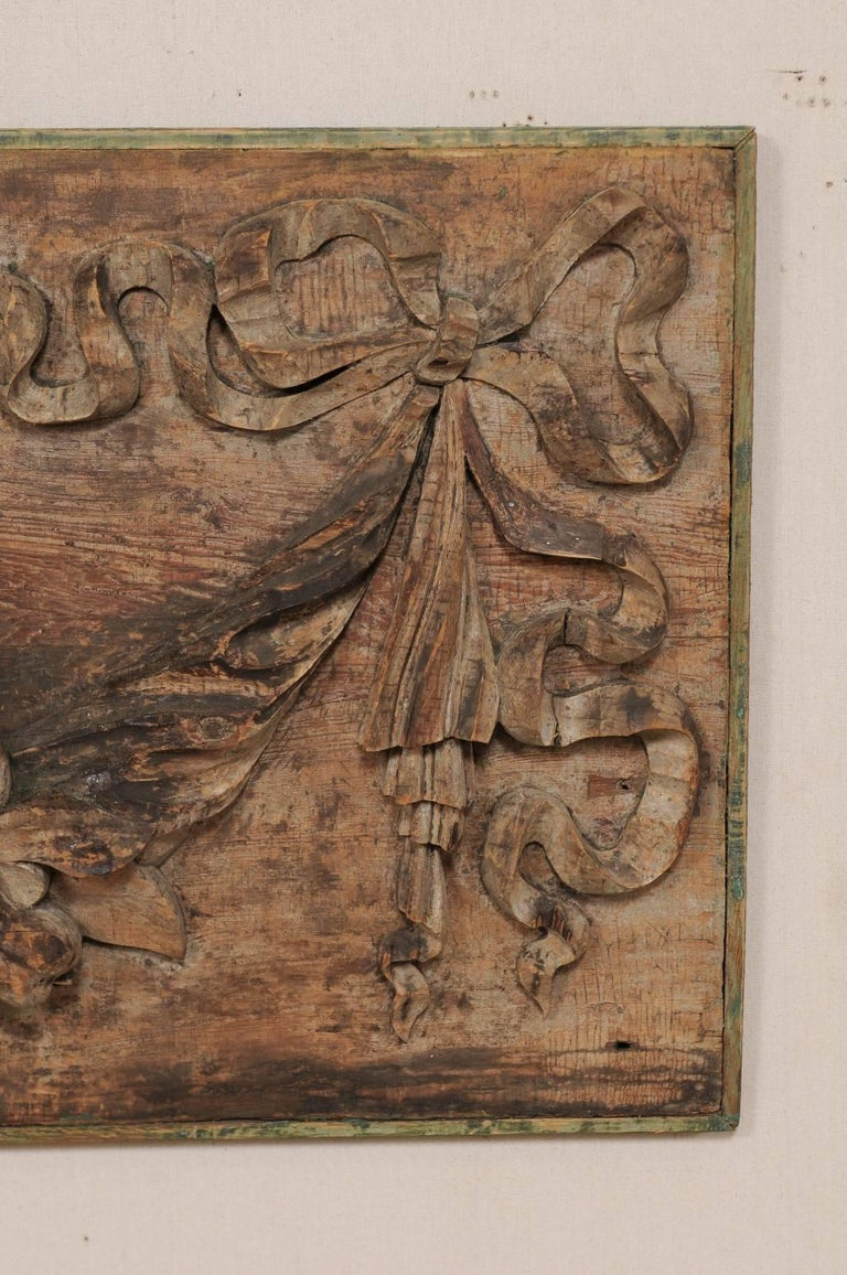 Italian 19th Century Hand-Carved Wood Wall Plaque with Fruit, Swag & Bow Motifs 5